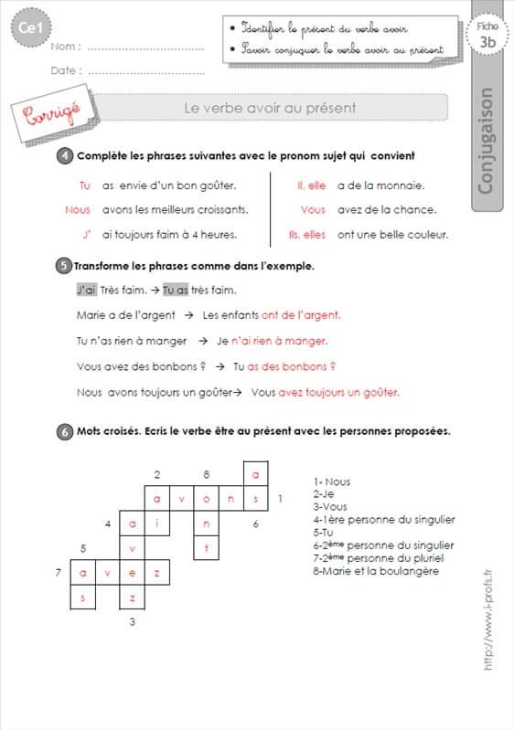 Ce1 Exercices Present Du Verbe Avoir