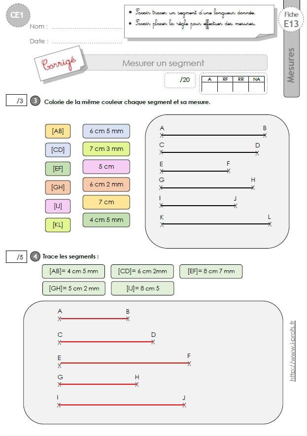 Ce1 evaluation comment mesurer un segment en ce1 cycle 2 - Regle pour mesurer ...