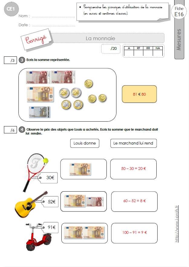 CE1 EVALUATION: La monnaie en CE1 cycle 2