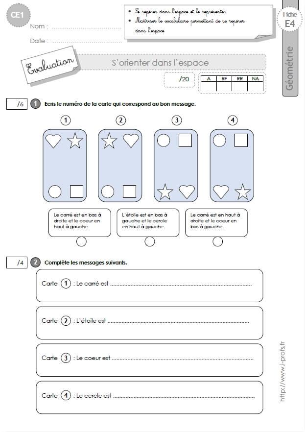 ce1 evaluation se rep rer dans l 39 espace en ce1 cycle 2. Black Bedroom Furniture Sets. Home Design Ideas
