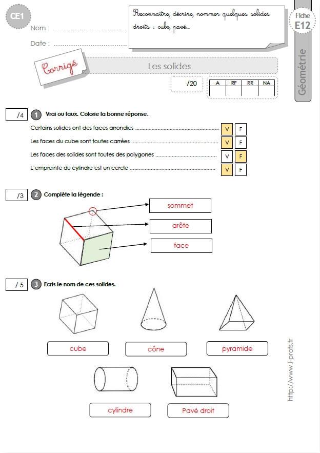 CE1 EVALUATION: Les solides en CE1 cycle 2