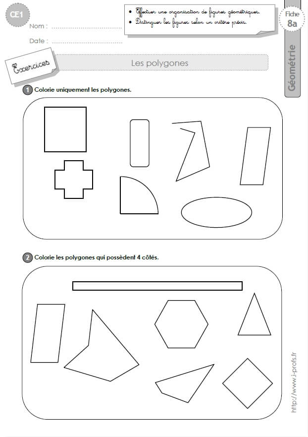 CE1 EXERCICES: Les polygones en CE1 cycle 2