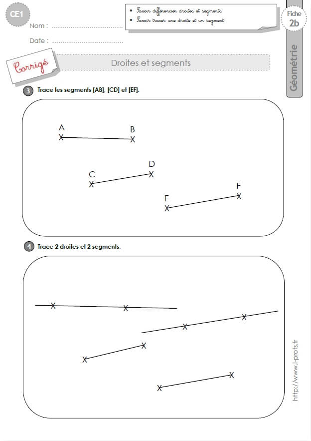 CE1 EXERCICES: Droites et segments en CE1 cycle 2