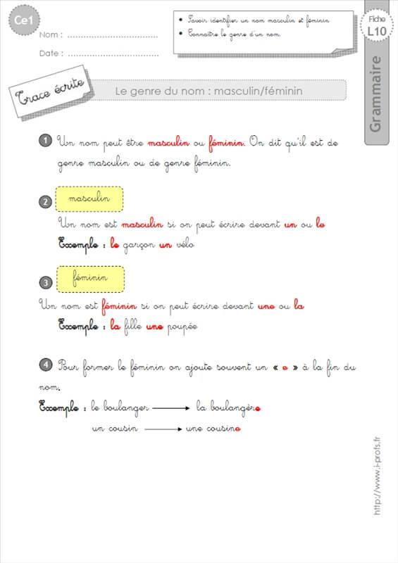 Ce1 Lecon Le Genre Du Nom Grammaire