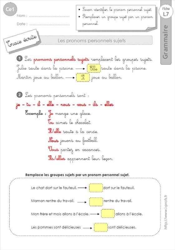 ce1: Leçon les pronoms GRAMMAIRE