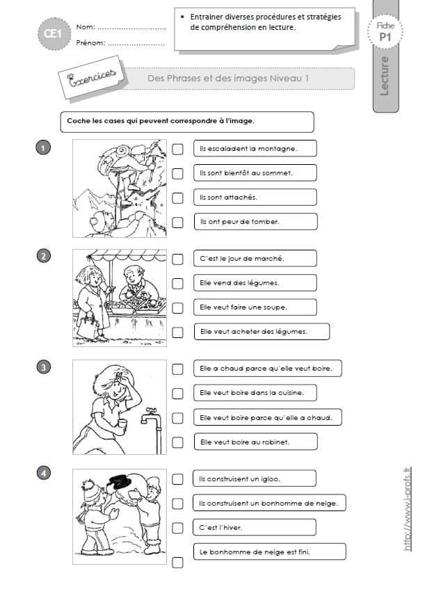 Ce1 Associer Des Phrases Et Des Images Niveau 1