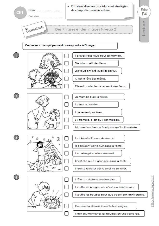 CE1 Associer des phrases et des images Niveau 2