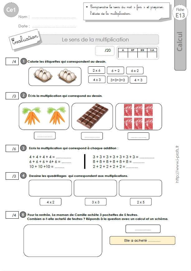 Ce1 Cycle2 Evaluations Corrigees Le Sens De La Multiplication Et