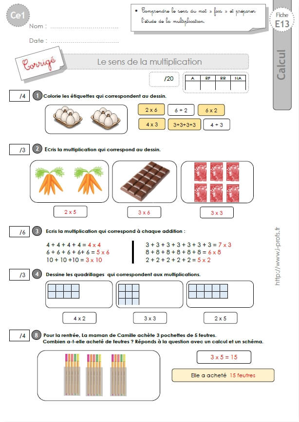 Ce1 cycle2 evaluations corrigees le sens de la multiplication et les tables de x - Exercice tables de multiplication ce2 ...