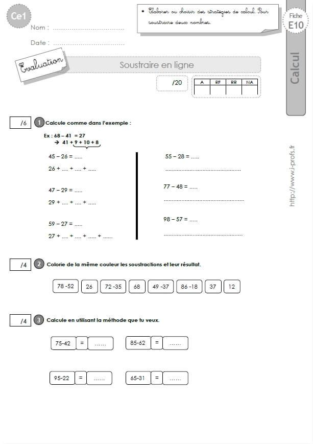 Ce1 cycle2 evaluations corrigees soustraire 2 nombres en ligne - Addition et soustraction ce1 ...
