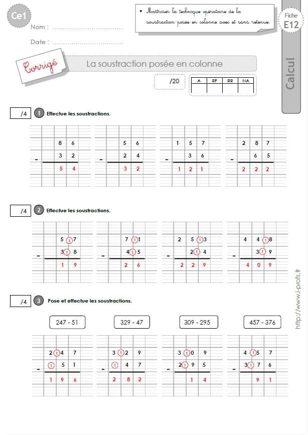 Ce1 cycle2 evaluations corrigees la soustraction pos e avec et sans retenue - Addition et soustraction ce1 ...
