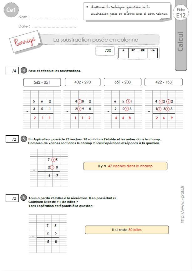 Ce1 cycle2 evaluations corrigees la soustraction pos e avec et sans retenue - Soustraction avec retenue cm1 ...