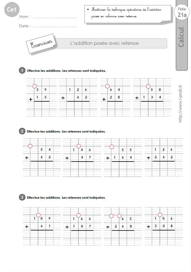 CE1-cycle2 EXERCICES CORRIGES: L'addition posée avec retenue