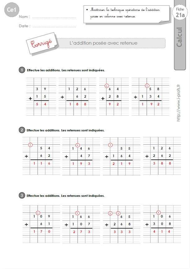 Ce1 cycle2 exercices corriges l 39 addition pos e avec retenue - Soustraction avec retenue cm1 ...