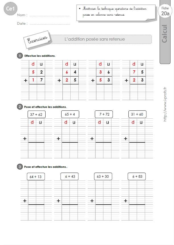 Ce1 cycle2 exercices corriges l 39 addition pos e sans retenue - Soustraction sans retenue ce2 ...