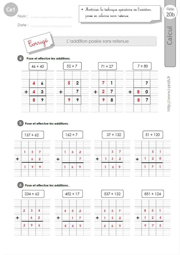 Ce1 cycle2 exercices corriges l 39 addition pos e sans retenue - Exercices tables d addition ce1 ...