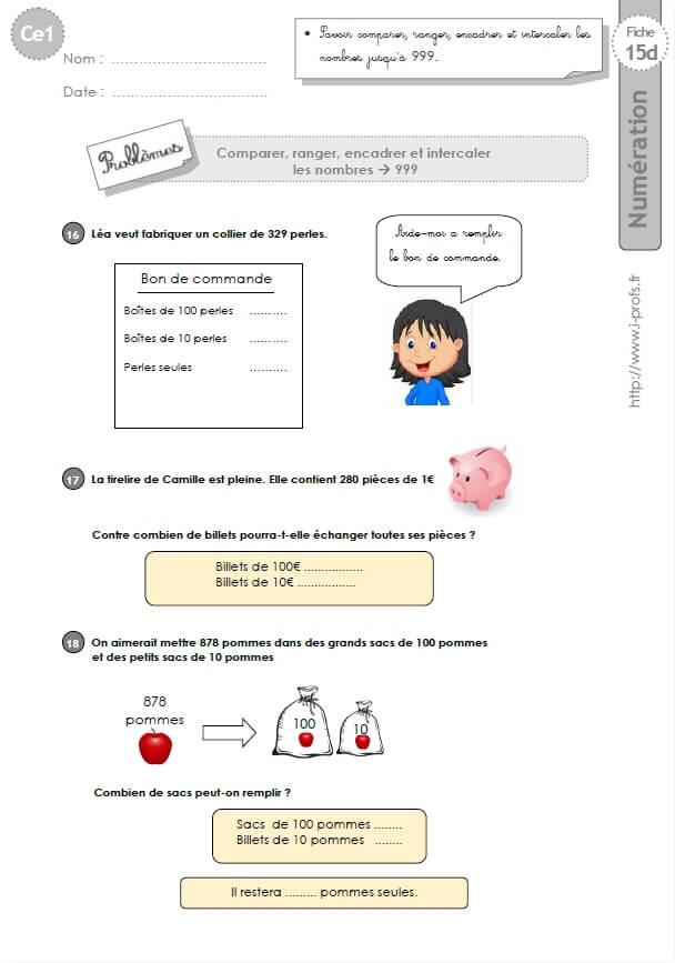 CE1-cycle2 EXERCICES CORRIGES: Comparer, ranger et ...
