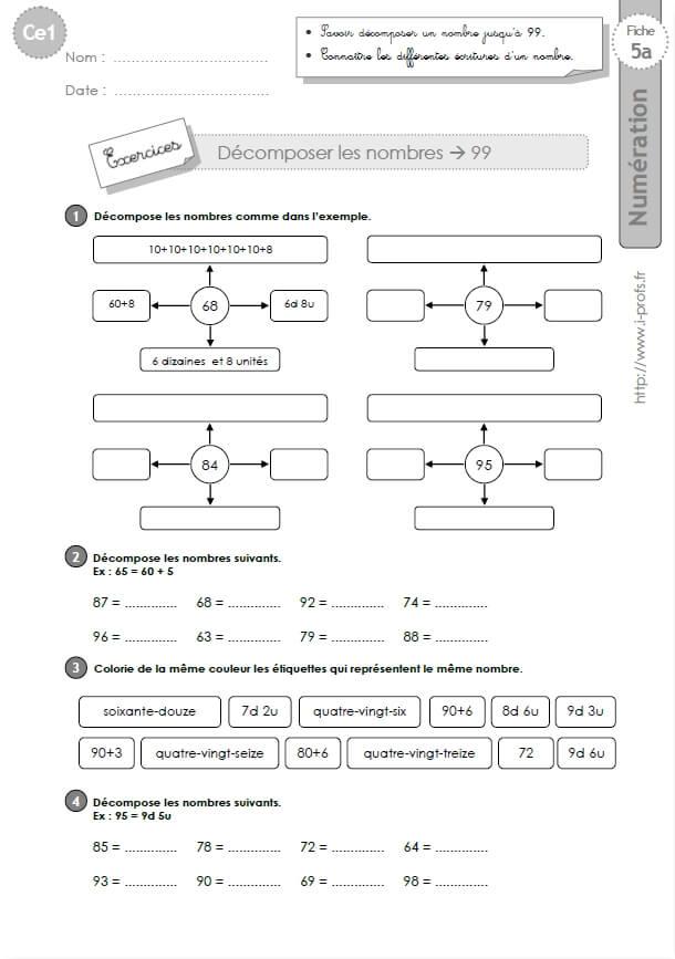 Ce1 Cycle2 Exercices Corriges Decomposer Les Nombres Jusqu A 99