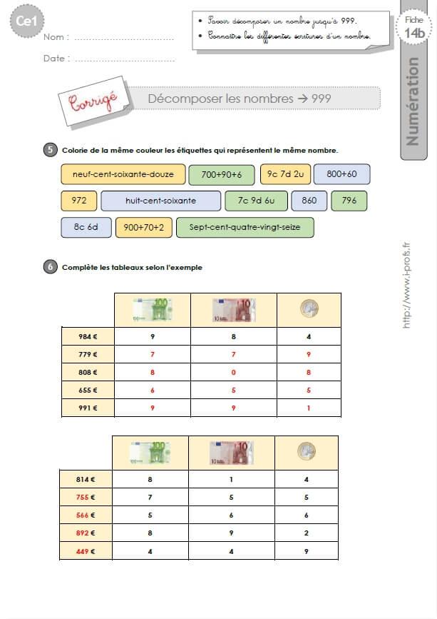 CE1-cycle2 EXERCICES CORRIGES: Décomposer les nombres jusqu'à 999