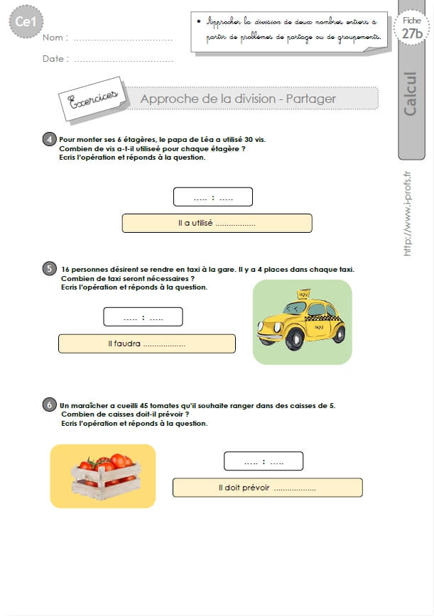 CE1-cycle2 EXERCICES CORRIGES: Sens de la division - partager