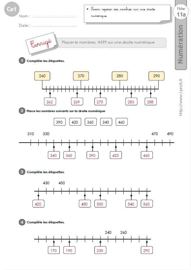 CE1-cycle2 EXERCICES CORRIGES: Placer les nombres --> 599 ...