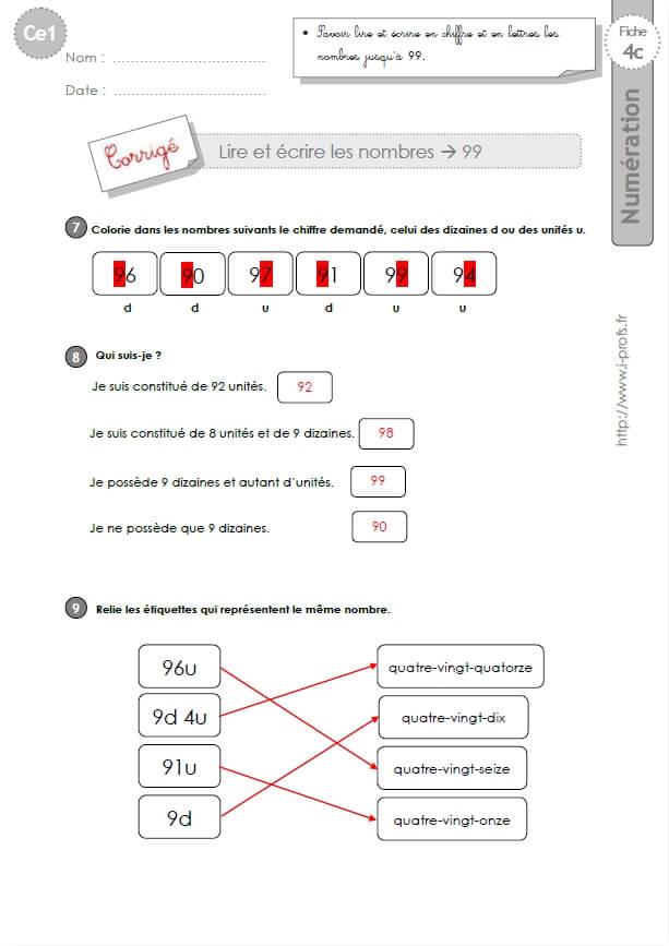 Ce1 Cycle2 Exercices Corriges Lire Et Ecrire Les Nombres Jusqu A 99