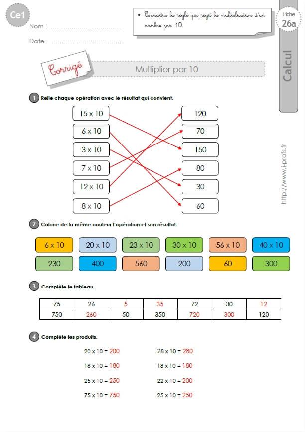 CE1-cycle2 EXERCICES CORRIGES: Multiplier par 10