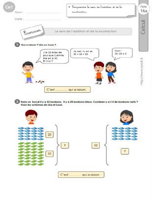 CE1-cycle2 EXERCICES CORRIGES: Le sens de l'addition et de la soustraction