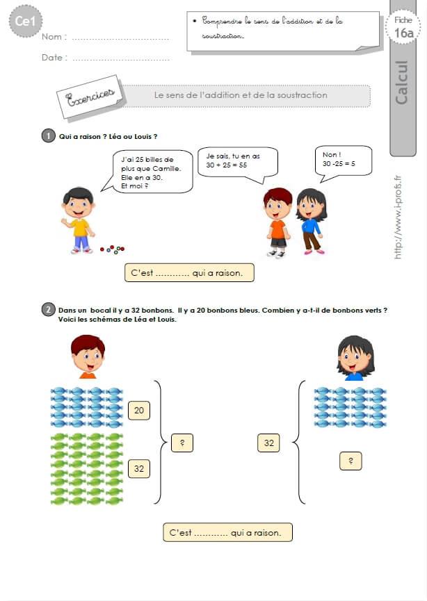CE1-cycle2 EXERCICES CORRIGES: Le sens de l'addition et de ...