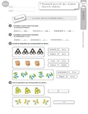 Ce1 cycle2 exercices corriges le sens de la - Exercices sur les tables de multiplication ce ...