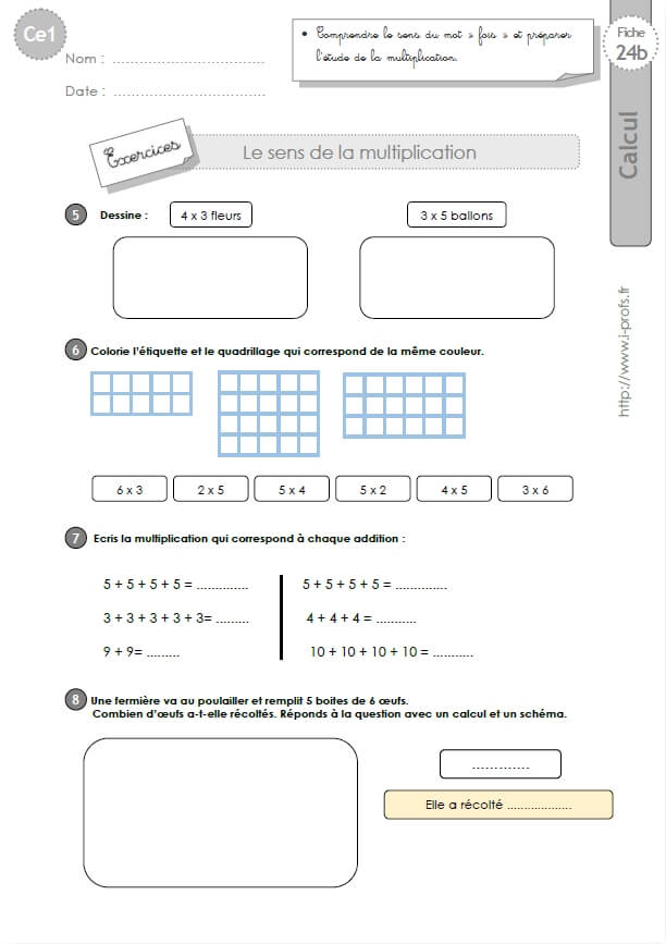 Evaluation table de multiplication calcul mental les ce2 - Evaluation tables de multiplication cm1 ...
