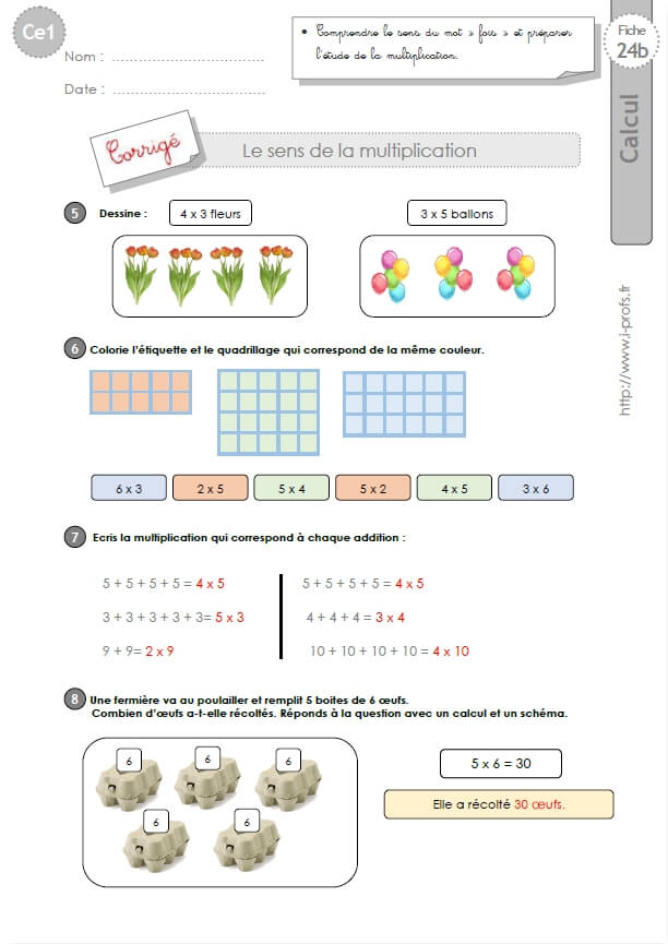 CE1-cycle2 EXERCICES CORRIGES: Le sens de la multiplication et les tables de x