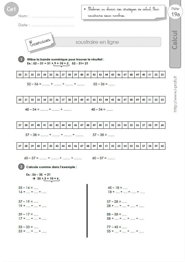 Ce1 cycle2 exercices corriges soustraire 2 nombres en ligne - Addition et soustraction ce1 ...