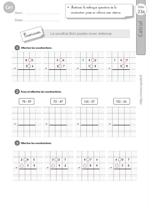 Ce1 cycle2 exercices corriges la soustraction pos e avec retenue les op rations au ce1 - Soustraction avec retenue cm1 ...