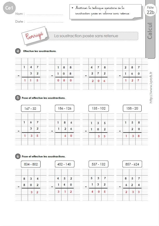 Soustraction en colonne exercices corriges calcul - Soustraction ce2 ...