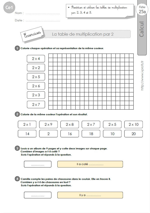 Ce1 cycle2 exercices corriges les tables de multiplication - Toute les table de multiplication de 1 a 100 ...