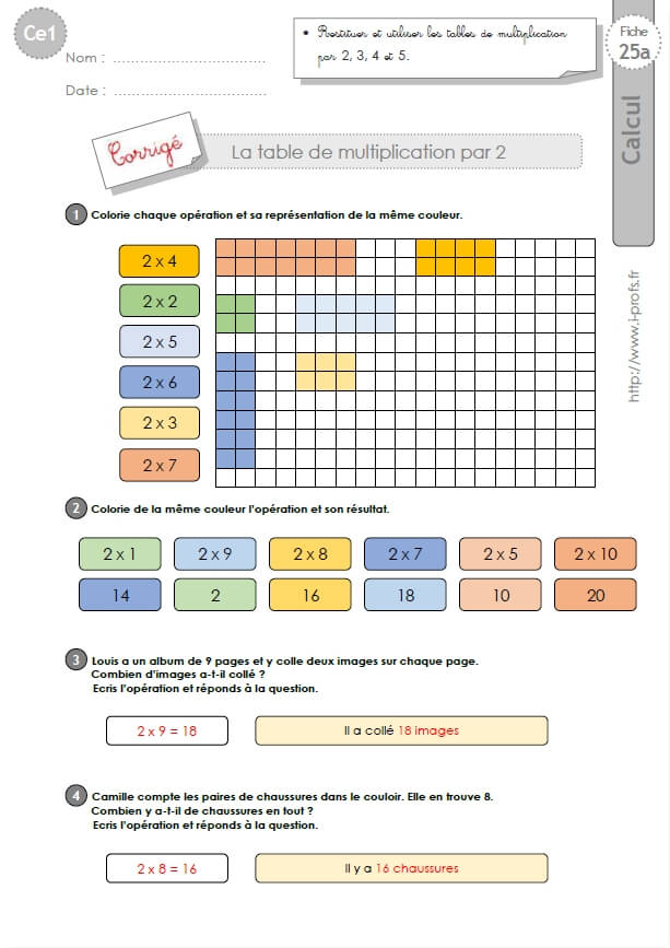 CE1-cycle2 EXERCICES CORRIGES: Les tables de multiplication