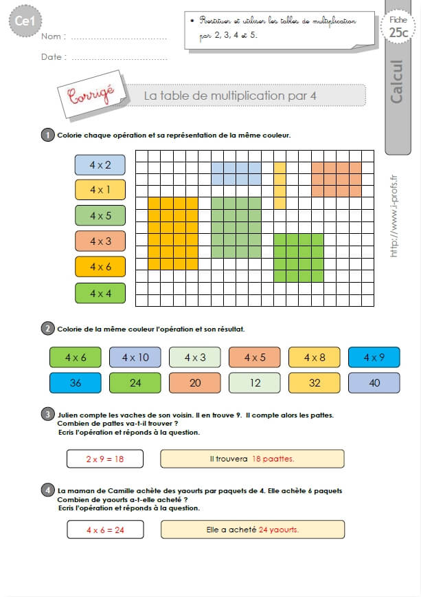 Ce1 cycle2 exercices corriges les tables de multiplication for Revision table de multiplication
