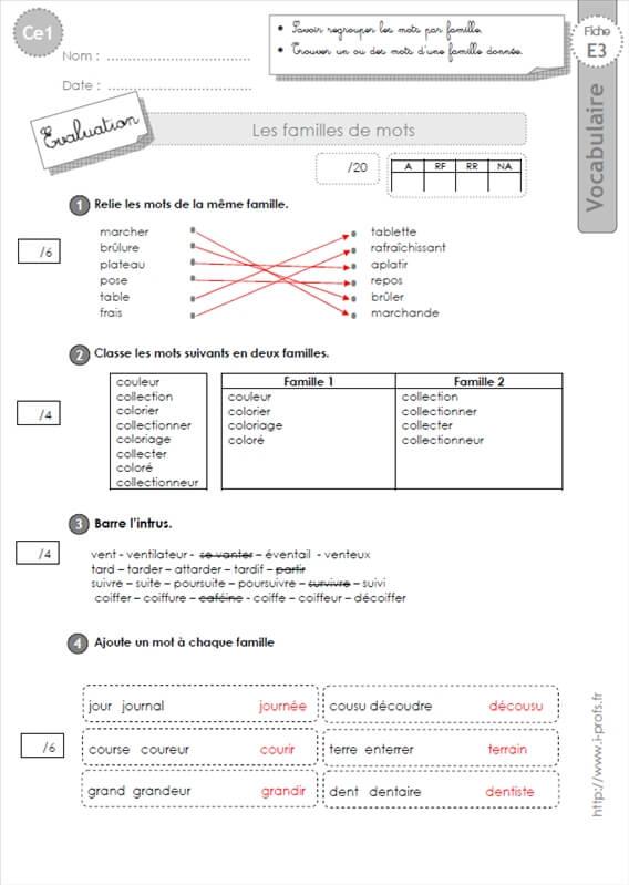Ce1 evaluation les familles de mots vocabulaire - Mot de la meme famille que fleur ...