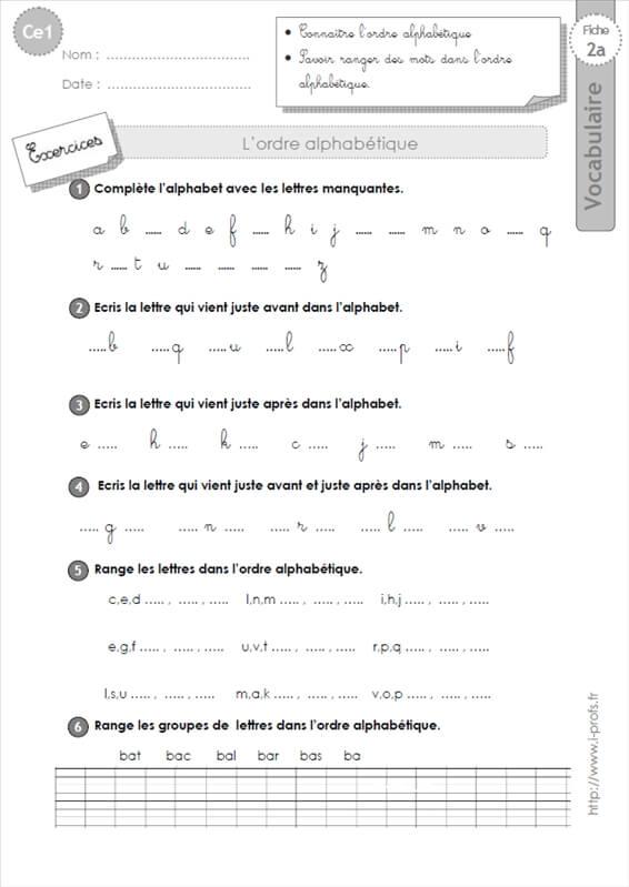 ce1: l'ordre alphabétique VOCABULAIRE