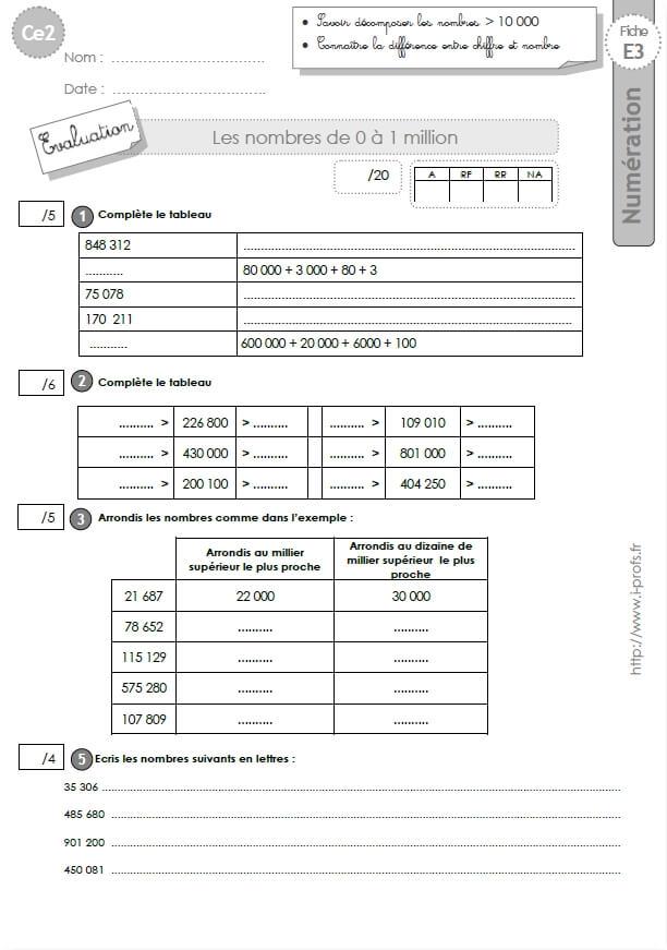 CE2: EVALUATION corrigées Les nombres de 0 à 1 million