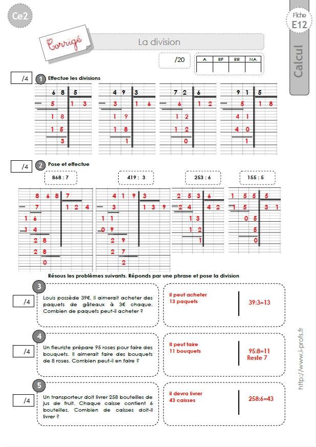 Ce2 evaluation corrig es technique op ratoire de la division - Division a imprimer ...