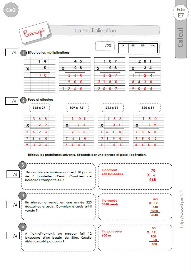 Exercice Multiplication Cm1 Of Ce2 Evaluation Corrig Es Technique Op Ratoire De La