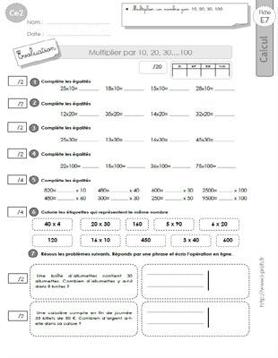 Ce2 evaluation corrig s multiplier par 10 20 30 100 - Evaluation tables de multiplication cm2 ...