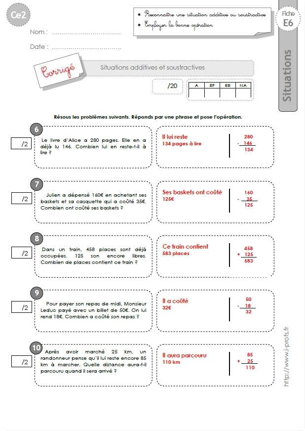 Ce2 evaluation corrig s probl mes additifs et soustractifs for Evaluation table multiplication ce2