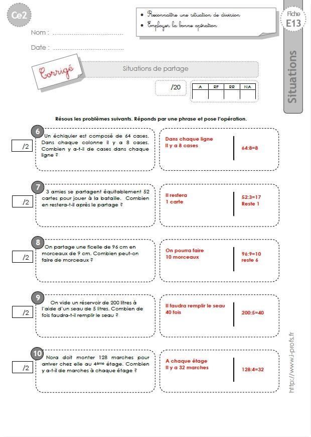CE2: EVALUATIONs corrigées Problèmes de division
