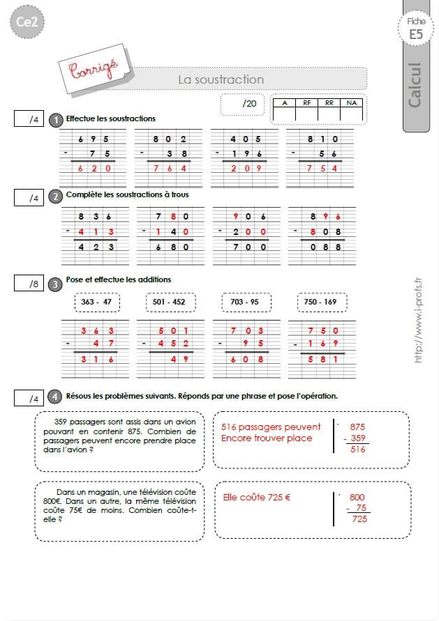 CE2: EVALUATION corrigées Technique opératoire de la Soustraction