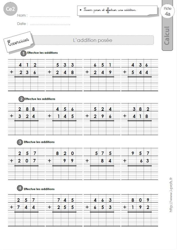 Ce2 exercices corrig s technique op ratoire de l 39 addition - Evaluation multiplication ce2 a imprimer ...