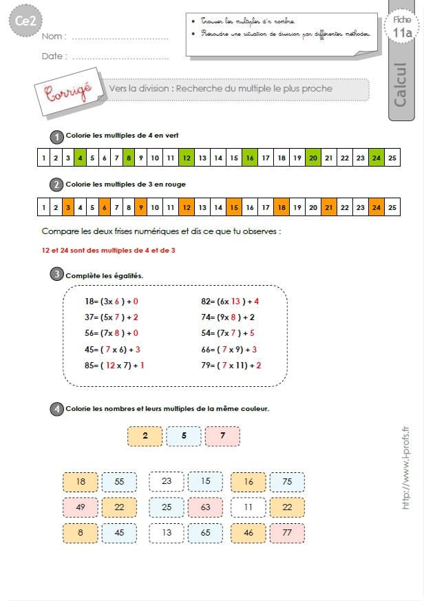 Ce2 Exercices Corriges Rechercher Le Multiple Le Plus Proche