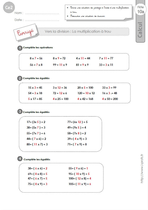 Ce2 exercices corrig s la multiplication trou for Exercice multiplication ce2